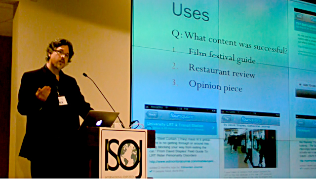 Tim Currie at the International Symposium on Online Journalism, April 1, 2011